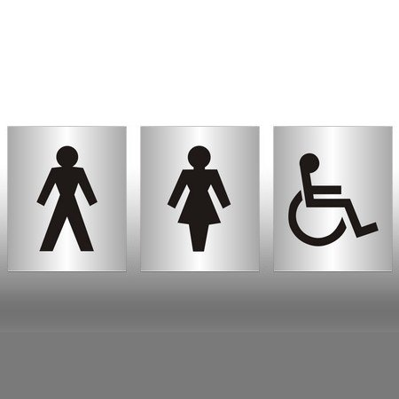 Set of 3 Large Toilets Signs