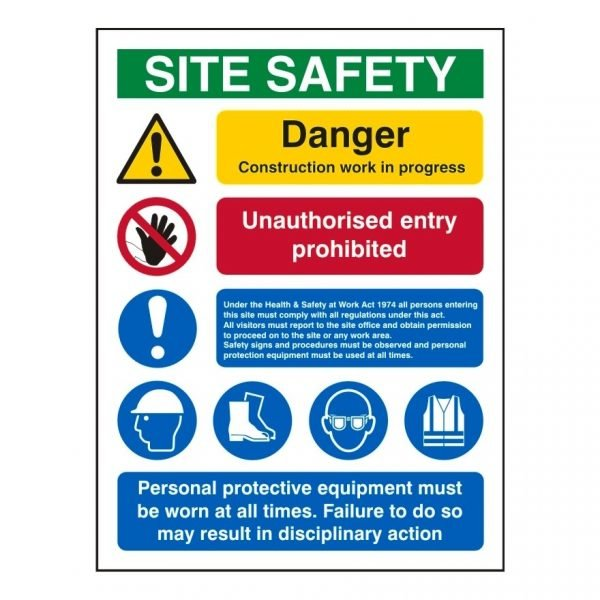 construction safety sign with site safety graphic & supporting text