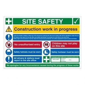 Site Safety Construction Work In Progress Sign
