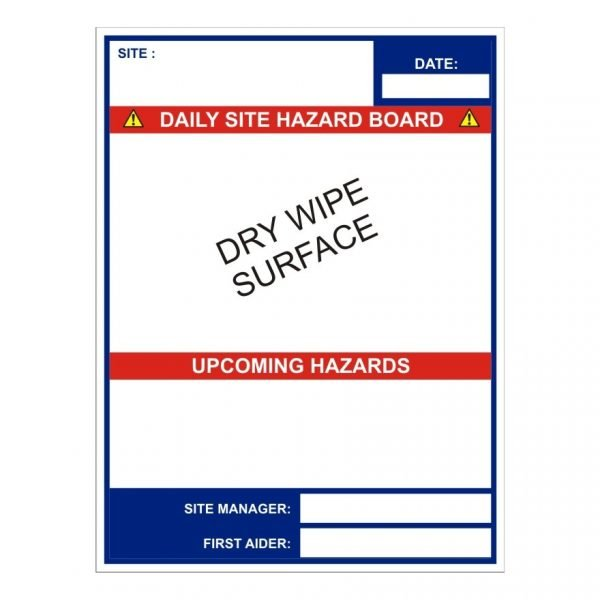 construction safety sign with site board dry wipe laminate graphic & supporting text
