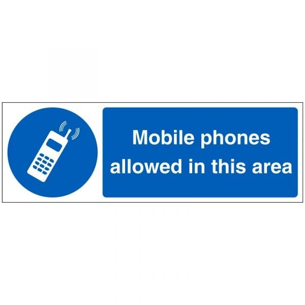 Mobile Phones Allowed In This Area Sign
