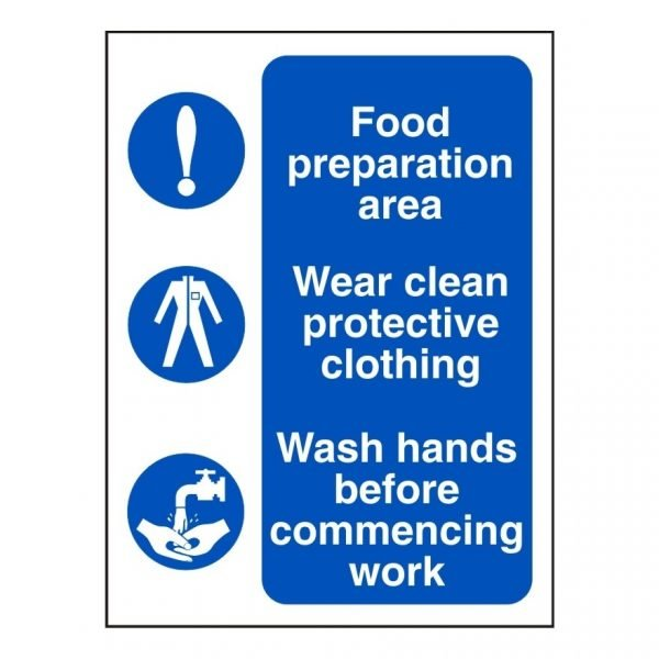 Food Preparation Protective Clothing Wash Hands Sign
