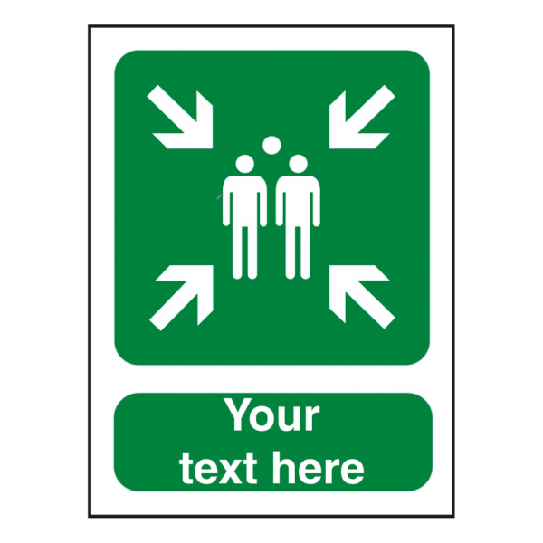 Fire safety sign with assembly point graphic and space for your own text
