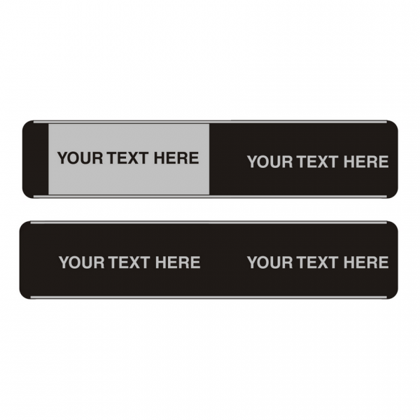 Custom Sliding Door Sign Backplate and Slider Text
