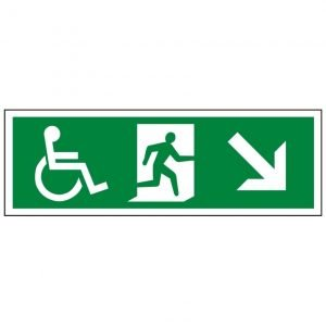Disabled Running Man Arrow Down Right Sign