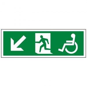 Disabled Running Man Arrow Down Left Sign