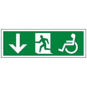 Disabled Running Man Arrow Down Sign