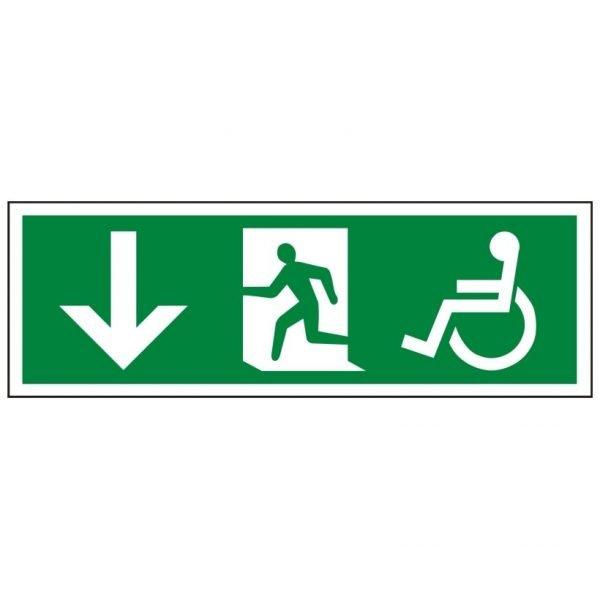 Disabled Running Man Arrow Down Sign