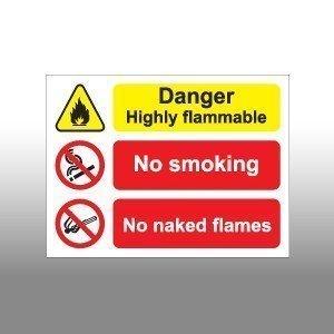 Highly Flammable No Smoking No Naked Lights Sign