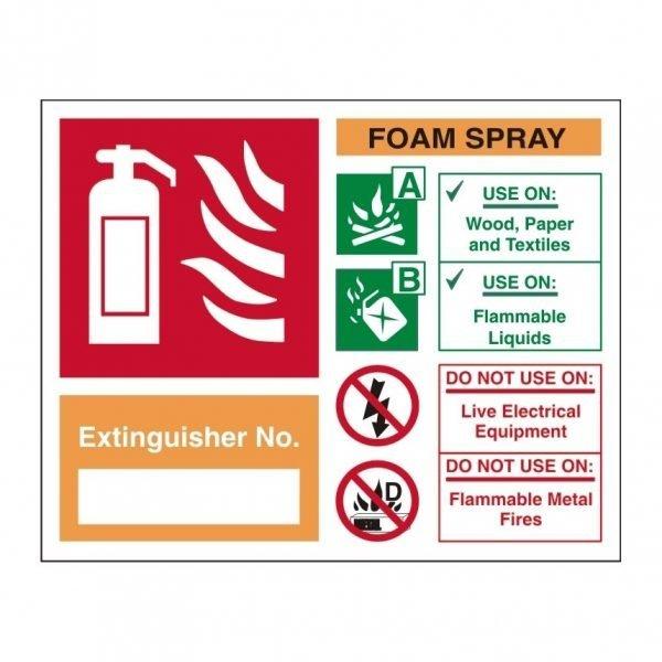 Extinguisher No Foam Spray Sign