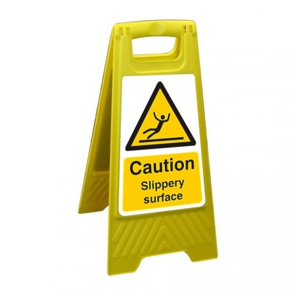 Caution Slippery Surface Free Standing Floor Sign