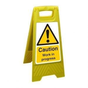 Caution Work In Progress Free Standing Floor Sign
