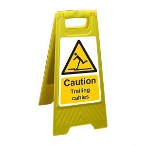 Caution Trailing Cables Free Standing Floor Sign