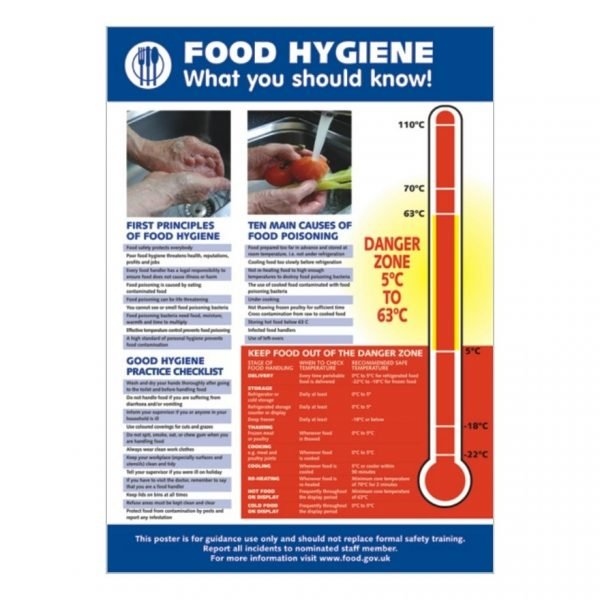 catering safety sign with food hygiene poster graphic & supporting text
