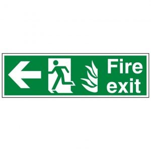 Fire Exit Running Man Arrow Left Sign