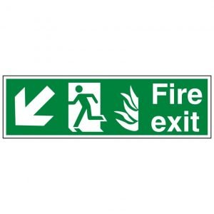 Fire Exit Running Man Arrow Down Left Sign