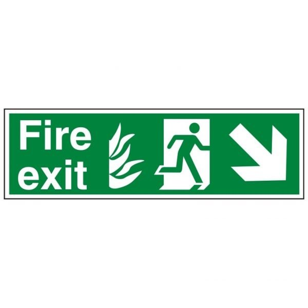 Fire Exit Running Man Arrow Down Right Sign