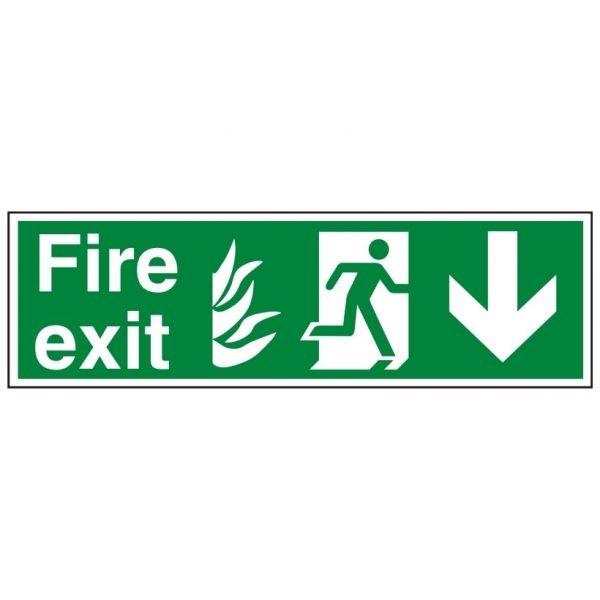 Fire Exit Running Man Arrow Down Sign