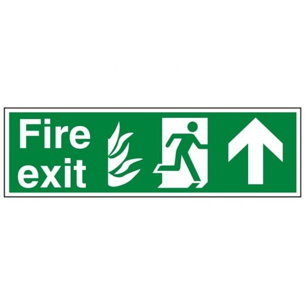 Fire Exit Running Man Arrow Up Sign