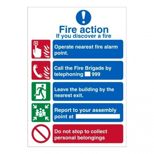 Fire Action Report To Your Assembly Point Sign