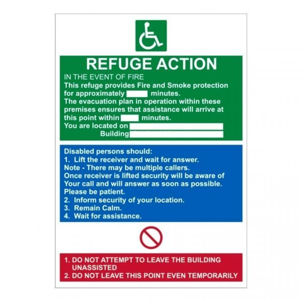 Fire Action Refuge Action Sign