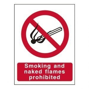Smoking And Naked Flames Prohibited Sign