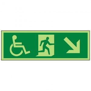 Disabled Running Man Down Right Photoluminescent Sign