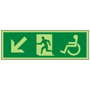 Disabled Running Man Arrow Down Left Photoluminescent Sign