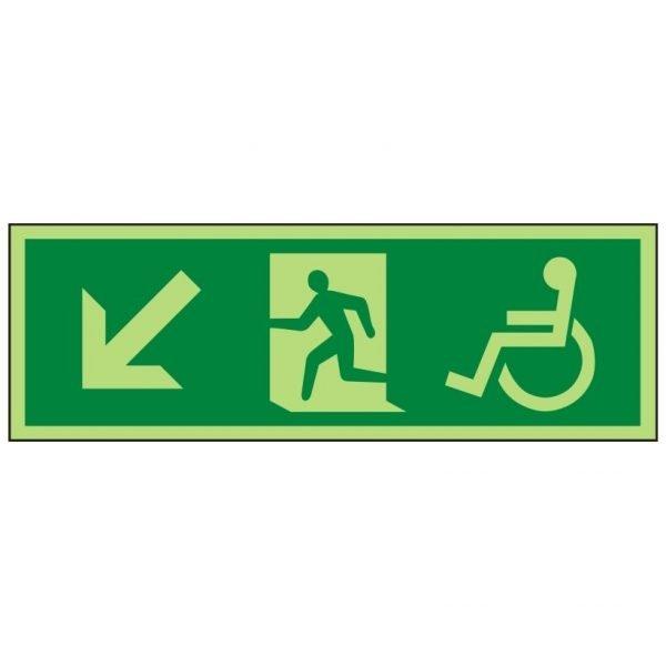 Disabled Running Man Arrow Down Left Photoluminescent Sign
