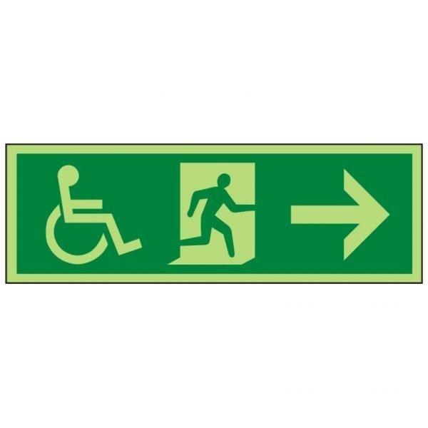 Disabled Running Man Arrow Right Photoluminescent Sign