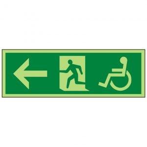 Disabled Running Man Arrow Left Photoluminescent Sign