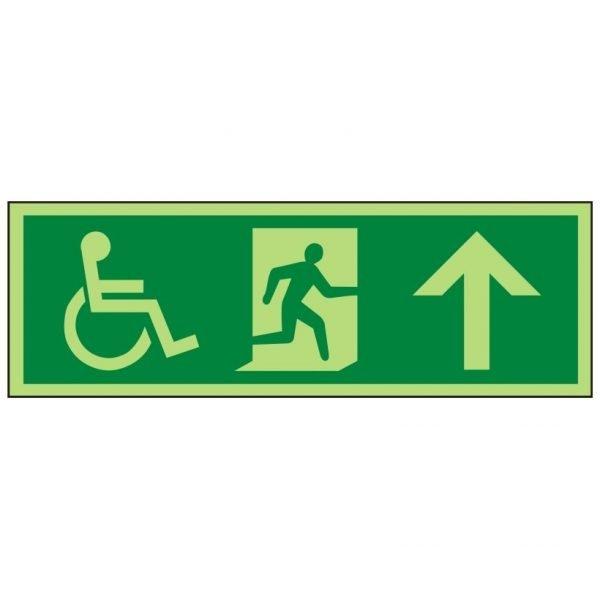 Disabled Running Man Arrow Up Photoluminescent Sign