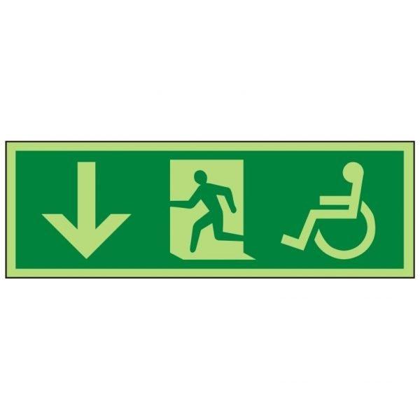 Disabled Running Man Arrow Down Photoluminescent Sign
