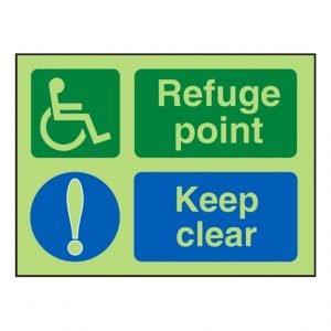 Disabled Refuge Point Keep Clear Photoluminescent Sign