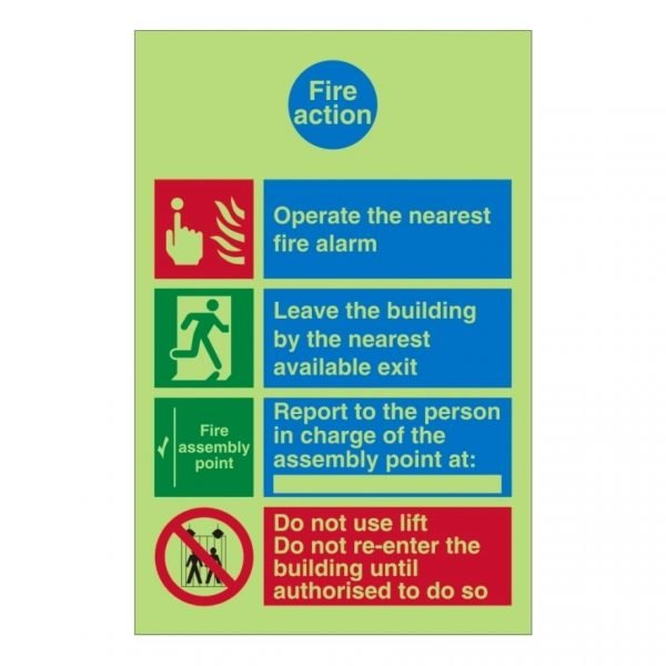 Fire Action Operate The Nearest Fire Alarm Sign