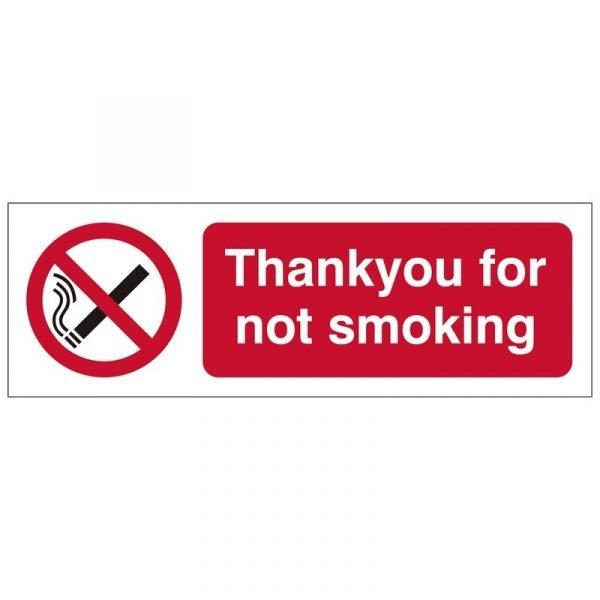 Thankyou For Not Smoking Sign
