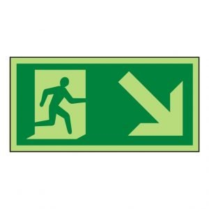 Running Man Arrow Down Right Photoluminescent Sign