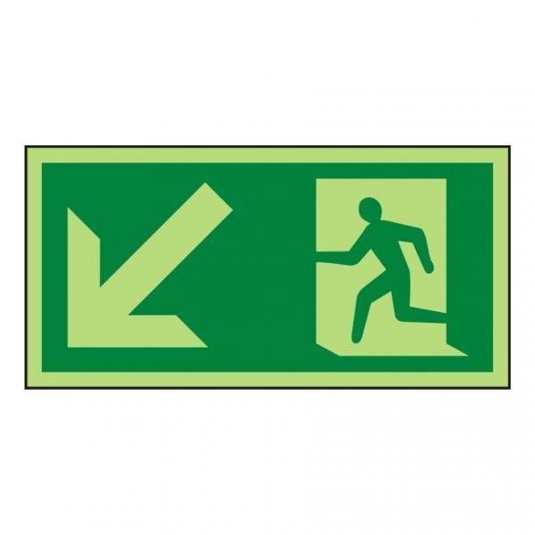 Running Man Arrow Down Left Photoluminescent Sign