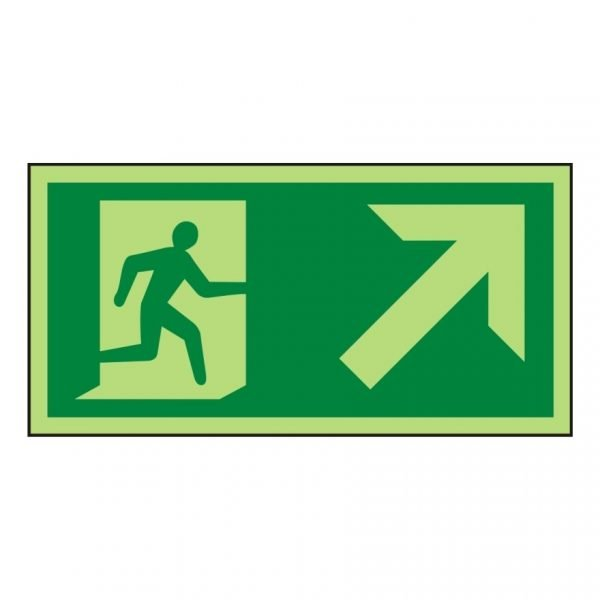 Running Man Arrow Up Right Photoluminescent Sign