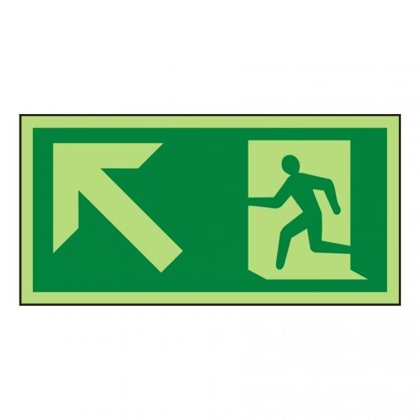Running Man Arrow Up Left Photoluminescent Sign