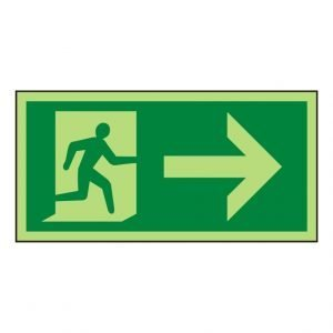 Running Man Arrow Right Photoluminescent Sign