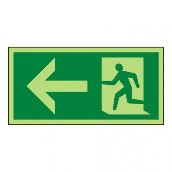 Running Man Arrow Left Photoluminescent Sign