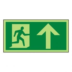 Running Man Arrow Up Photoluminescent Sign