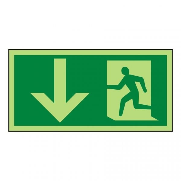 Running Man Arrow Down Photoluminescent Sign