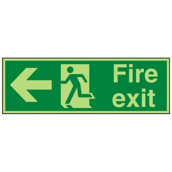 Fire Exit Running Man Arrow Left Photoluminescent Sign