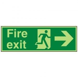 Fire Exit Running Man Arrow Right Photoluminescent Sign