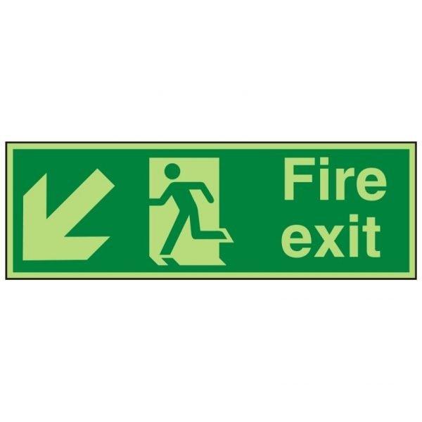 Fire Exit Running Man Arrow Down Left Photoluminescent Sign