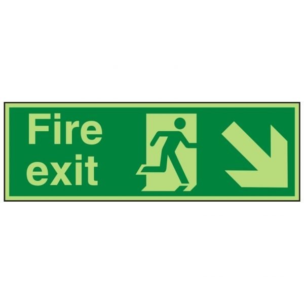 Fire Exit Running Man Arrown Down Right Photoluminescent Sign