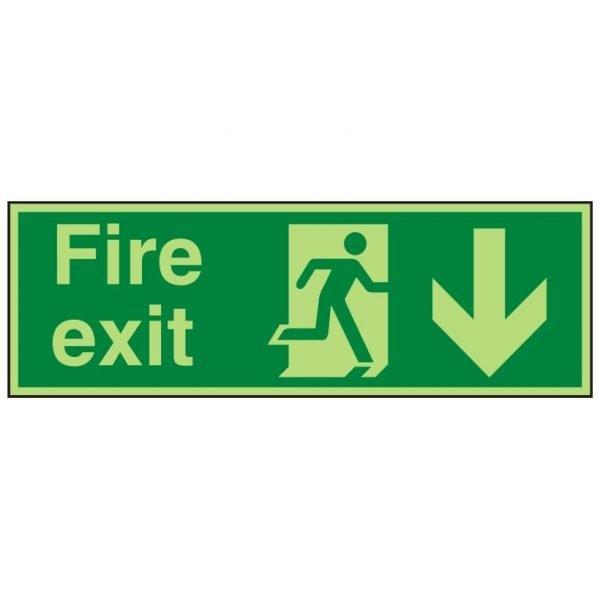 Fire Exit Running Man Arrow Down Photoluminescent Sign