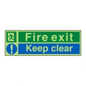 Fire Exit Keep Clear Photoluminescent Sign